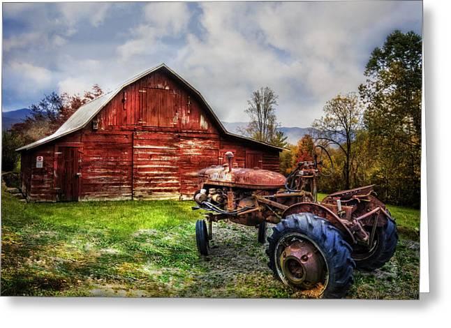 Rusty Tractor Greeting Card by Debra and Dave Vanderlaan