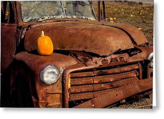 Rusty Truck In Pumpkin Field Greeting Card by Garry Gay