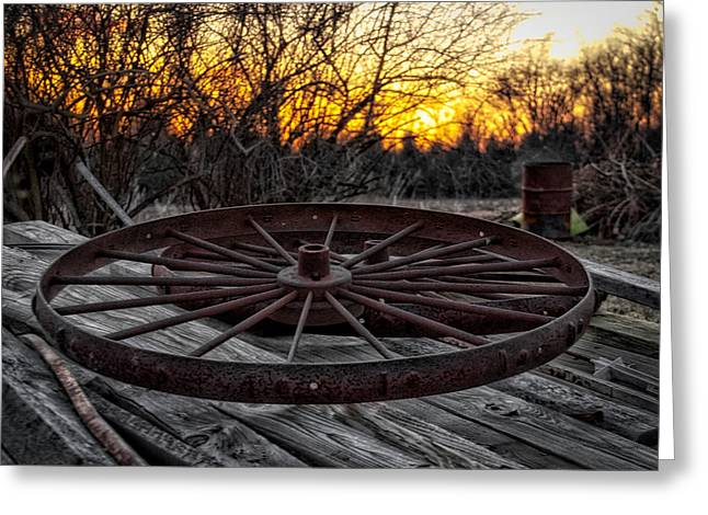 Rusty Wagon Wheel At Sunset Greeting Card