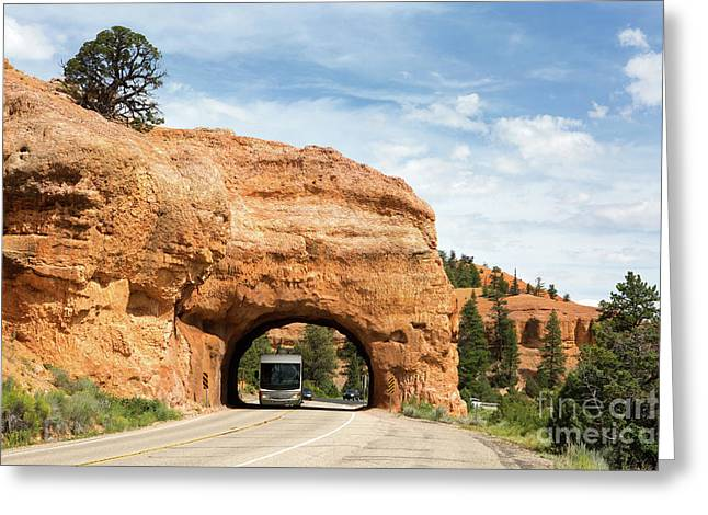 Rv Red Canyon Tunnel Utah Greeting Card