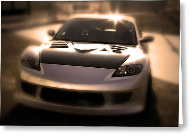 Mazda Greeting Cards - RX8 Glow Greeting Card by Chris Brannen
