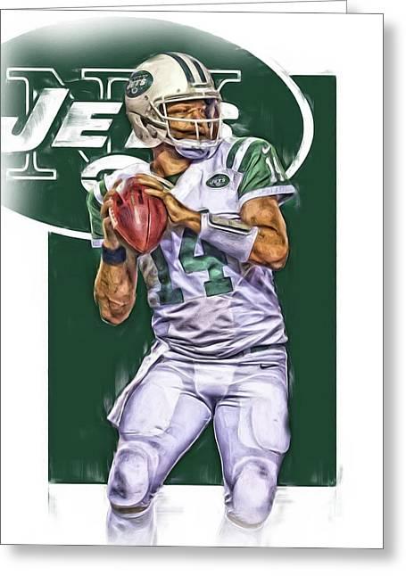 Ryan Fitzpatrick New York Jets Oil Art Greeting Card by Joe Hamilton