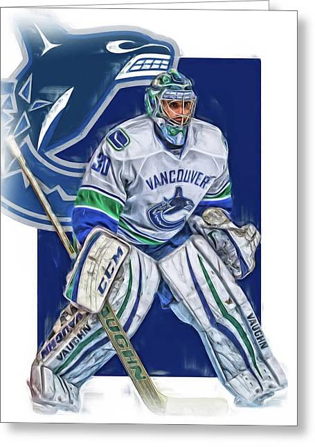 Ryan Miller Vancouver Canucks Oil Art Greeting Card by Joe Hamilton