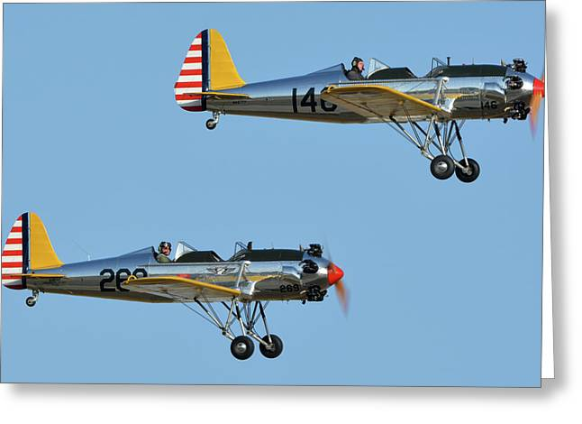 Ryan Pt-22 N48777 146 And Pt-22 N48742 269 Chino California April 29 2016 Greeting Card by Brian Lockett