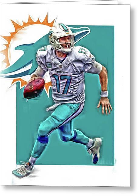 Ryan Tannehill Miami Dolphins Oil Art Greeting Card