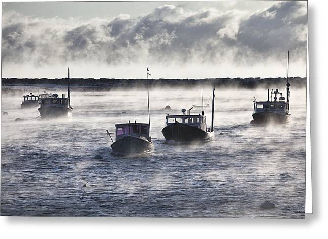 Rye Harbor Seasmoke Greeting Card by Eric Gendron