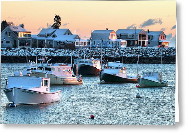 Rye Harbor Winter Morning Greeting Card by Eric Gendron