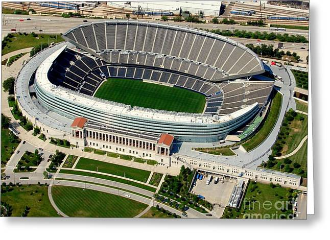 S-004 Soldier Field Close Up Chicago Illinois Greeting Card by Bill Lang