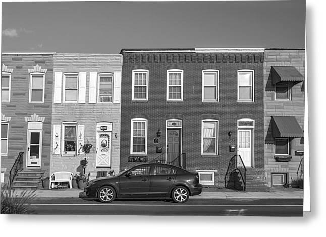 S. Baltimore Row Homes - Grayscale Greeting Card