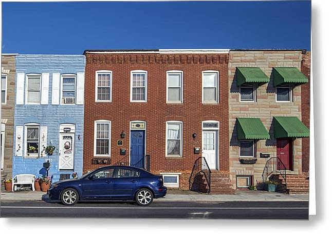 S Baltimore Row Homes - Wide Greeting Card