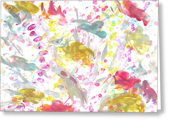 Expanding Creation In Teal, Gold, Gray, Red, And Pink Greeting Card by Beth Kettenacker