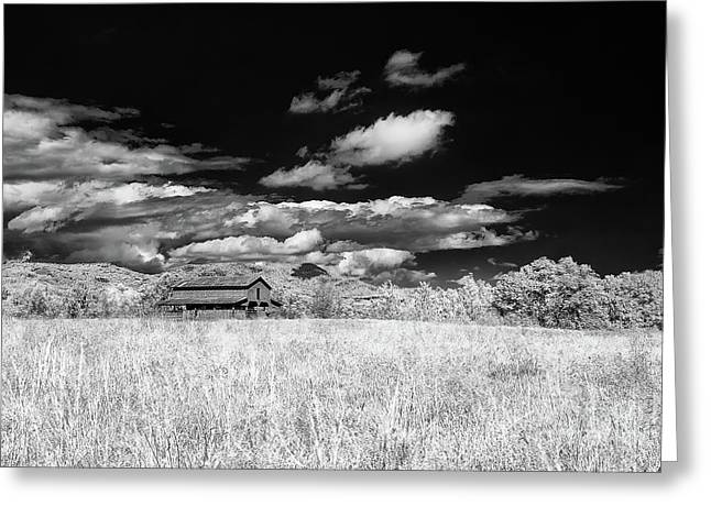 S C Upstate Barn Bw Greeting Card