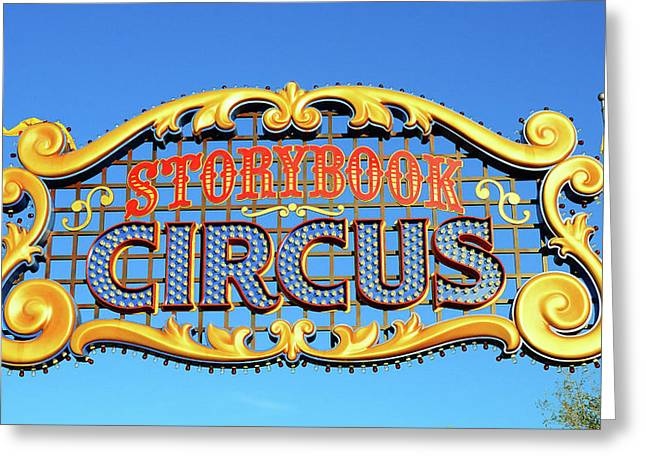 Storybook Circus Sign Greeting Card by David Lee Thompson