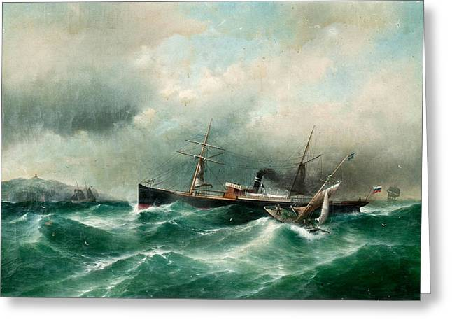 S S Capella On A Stormy Sea Greeting Card by Carl Fedeler Germany
