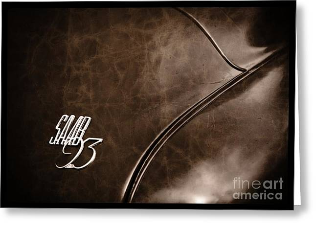 Saab 93 Emblem Raw Hide Leather Greeting Card by Edward Fielding