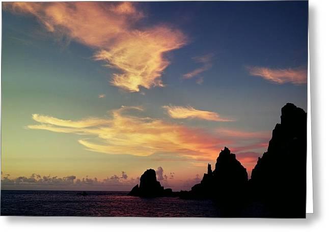 Saba Sunset  Greeting Card by Lloyd Southam Sebire