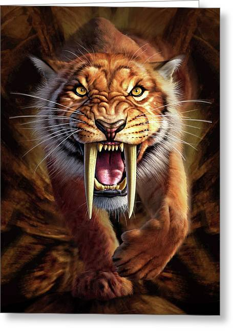 Cave Greeting Cards - Sabertooth Greeting Card by Jerry LoFaro
