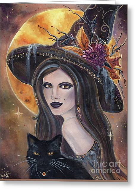 Sable And Salem Halloween Witch Greeting Card