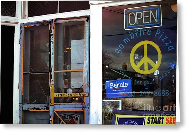 Sabula Iowa Pizza Joint Front Entrance Greeting Card