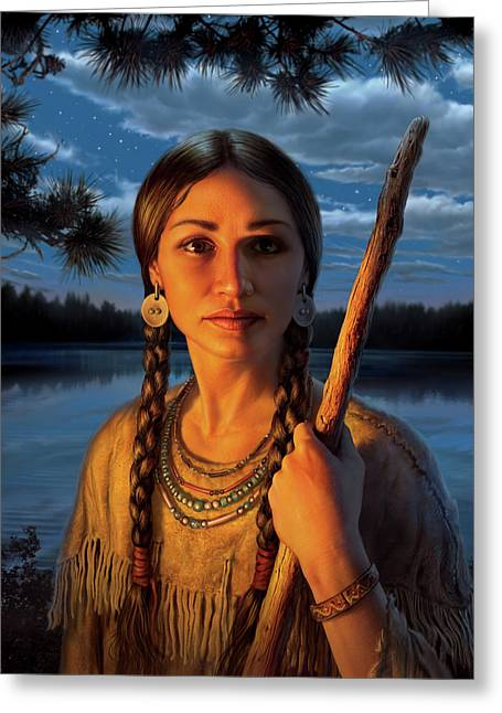 Sacagawea Greeting Card by Mark Fredrickson