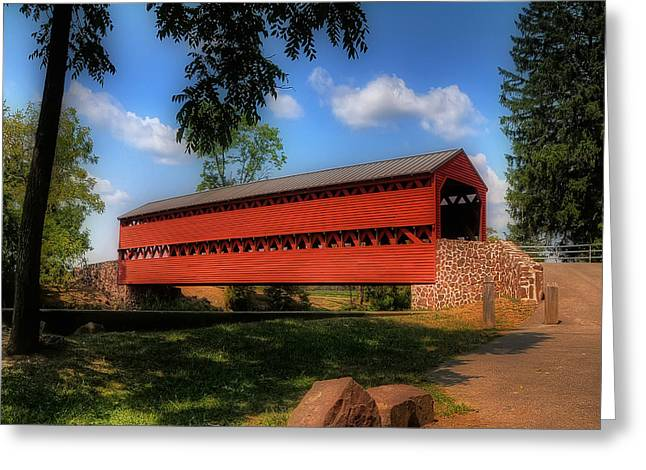 Wooden Bridges Greeting Cards - Sachs Covered Bridge Greeting Card by Lois Bryan