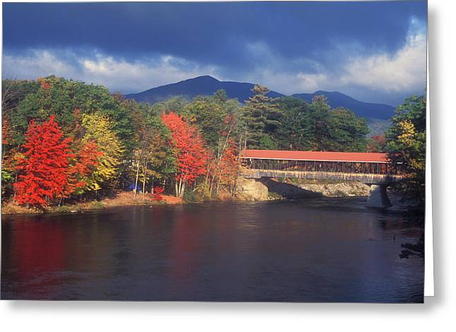 Saco River Covered Bridge Storm Greeting Card by John Burk