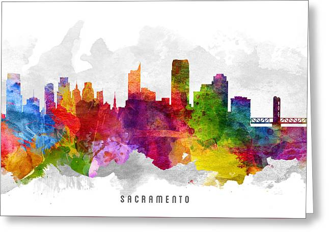 Sacramento Greeting Cards - Sacramento California Cityscape 13 Greeting Card by Aged Pixel
