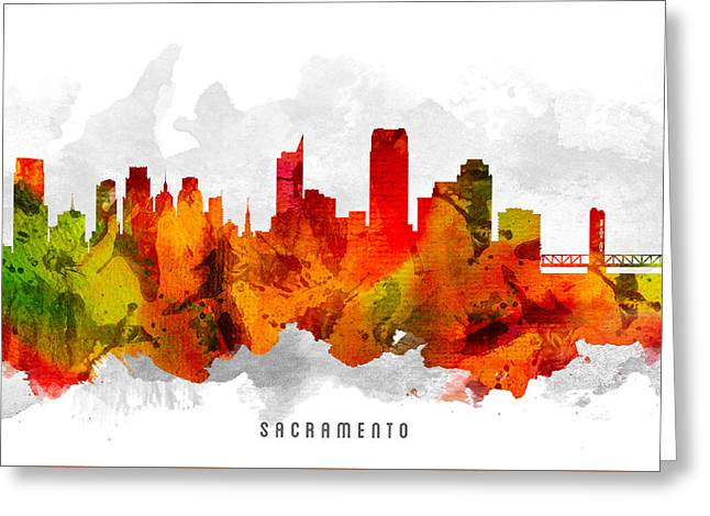 Sacramento Greeting Cards - Sacramento California Cityscape 15 Greeting Card by Aged Pixel