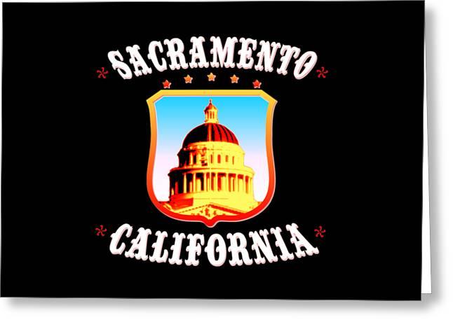 Sacramento California - Tshirt Design Greeting Card by Art America Gallery Peter Potter