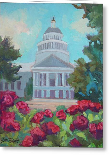 Sacramento Capitol And Roses Greeting Card