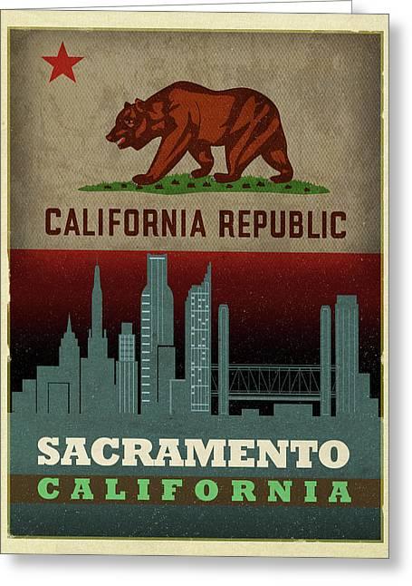 Sacramento City Skyline State Flag Of California Art Poster Series 023 Greeting Card