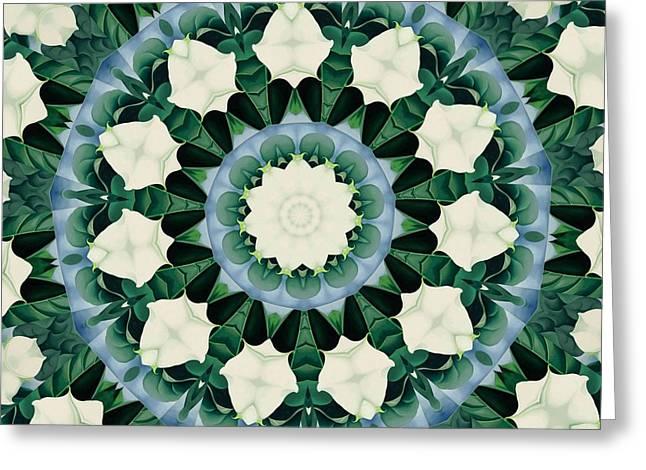 Sacramento Green And Cerulean Blue Mandala Greeting Card by Tracey Harrington-Simpson