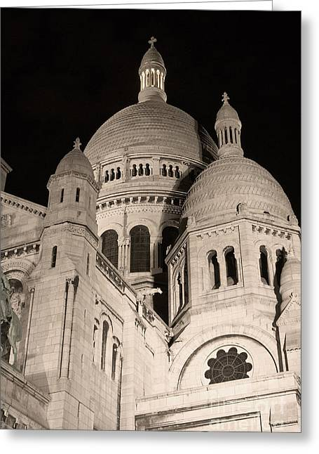 Sacre Coeur By Night IIi Greeting Card by Fabrizio Ruggeri