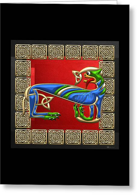 Sacred Celtic Lioness On Red And Black Greeting Card