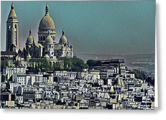 Sacred Heart Basilica Greeting Card by Russ Harris