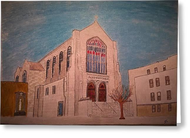 Sacred Heart Church Greeting Card by John Cunnane