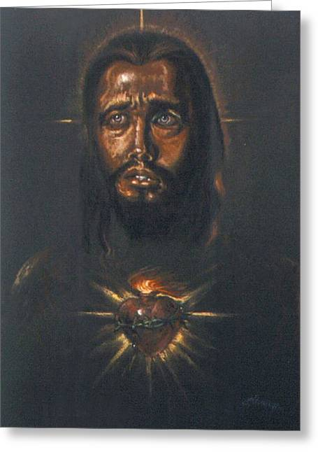 Sacred Heart Greeting Card by Tommy  Winn