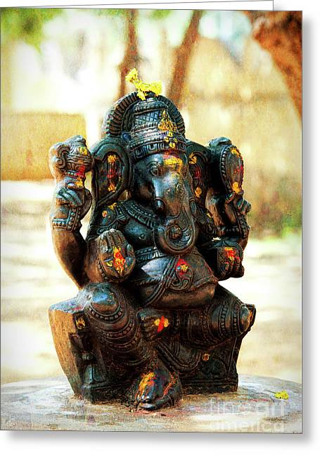 Sacred Indian Ganesha Greeting Card by Tim Gainey