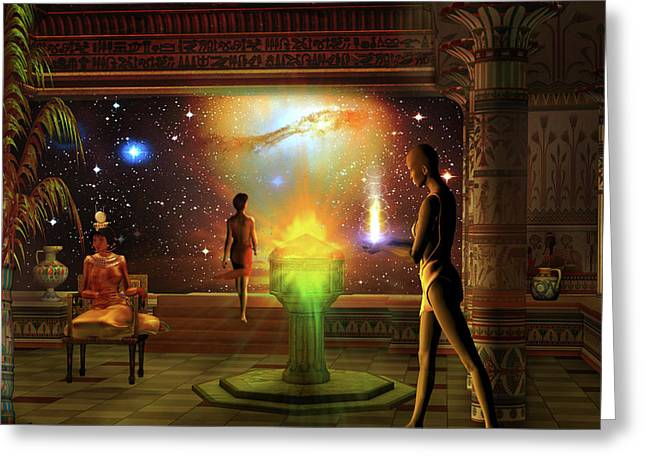 Greeting Card featuring the digital art Sacred Journey To Another World by Shadowlea Is