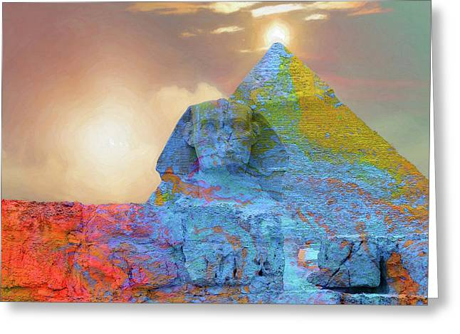 Sacred Places - The Great Sphinx Of Giza In Front Of The Great Pyramid Greeting Card