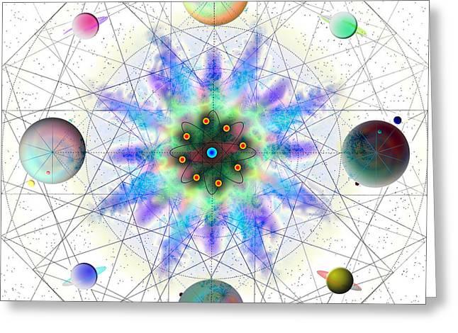 Greeting Card featuring the digital art Sacred Planetary Geometry - Blue Atom Light by Iowan Stone-Flowers