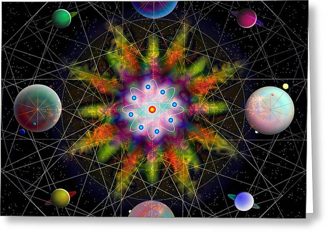 Greeting Card featuring the digital art Sacred Planetary Geometry - Dark Red Atom by Iowan Stone-Flowers