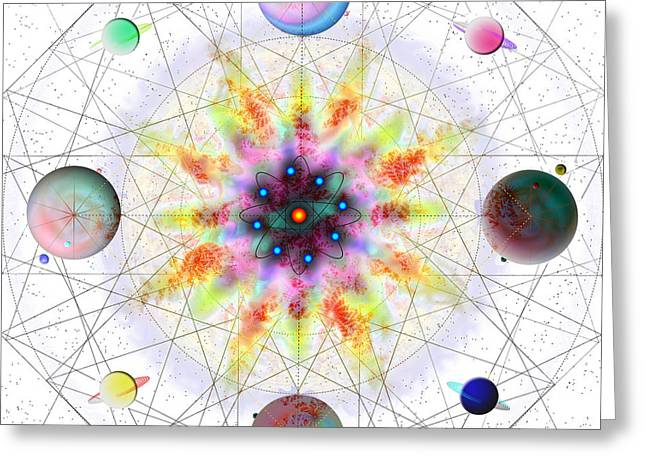Greeting Card featuring the digital art Sacred Planetary Geometry - Red Atom Light by Iowan Stone-Flowers