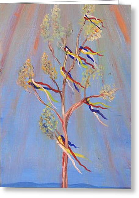 Sacred Sun Dance Tree Greeting Card by Kate Purdy