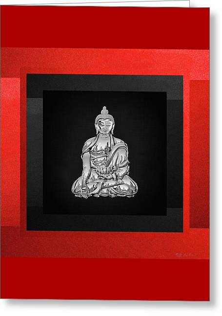 Sacred Symbols - Silver Buddha On Red And Black Greeting Card