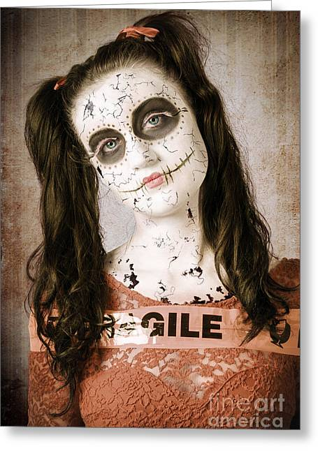 Sad And Ruined Sugarskull Doll With Shattered Face Greeting Card by Jorgo Photography - Wall Art Gallery