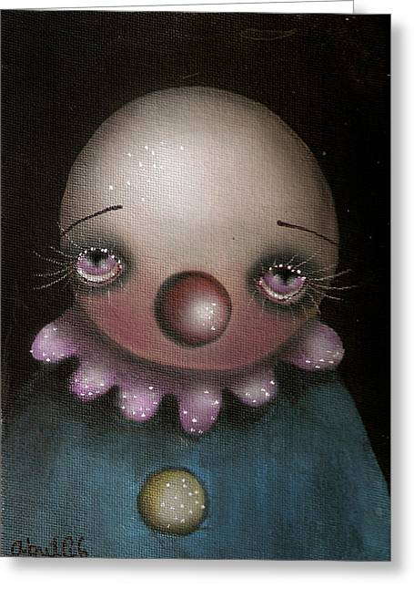 Sad Clown Greeting Card by  Abril Andrade Griffith