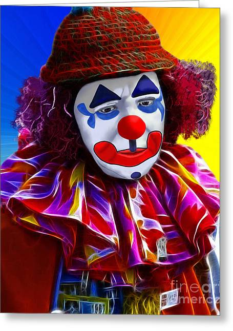 Sad Clown Greeting Card by Methune Hively
