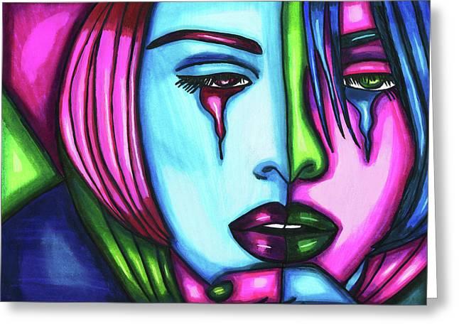 Sad Crying Woman Face Abstract Art Greeting Card