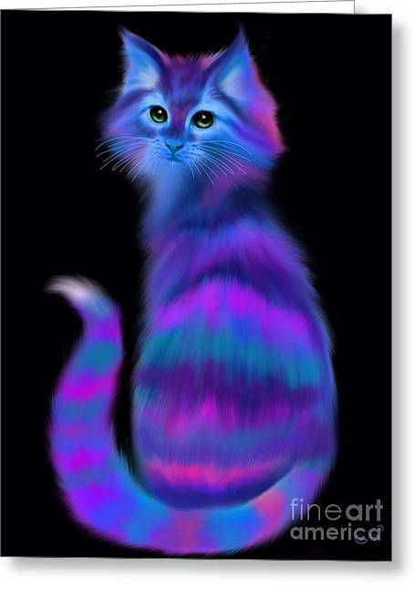 Greeting Card featuring the painting Sad Eyed Colorful Cat by Nick Gustafson